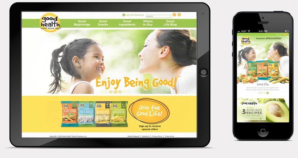Good Health website on tablet and mobile